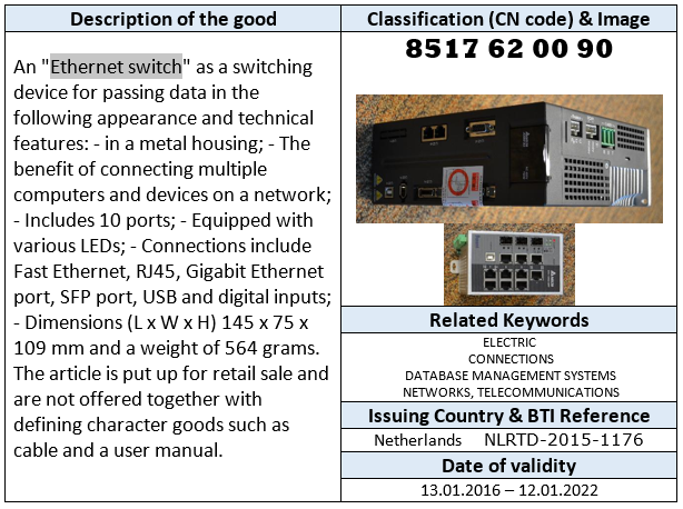 Ethernet switch Binding Tariff Information