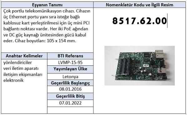Çok portlu telekomünikasyon cihazı Bağlayıcı Tarife Bilgisi
