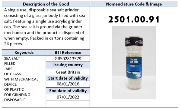 single use, disposable sea salt grinder BTI or HS Code